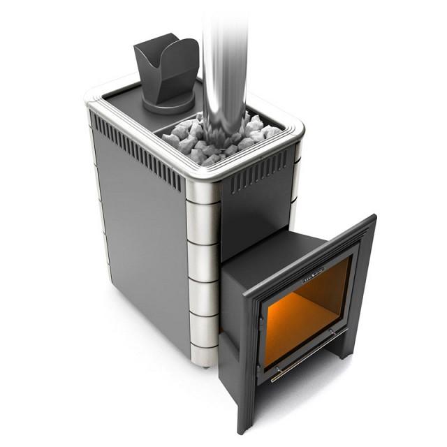 Гейзер (Дровяная печь-каменка экспертного класса) VITRA Антрацит с нержавеющей рамкой и вставками
