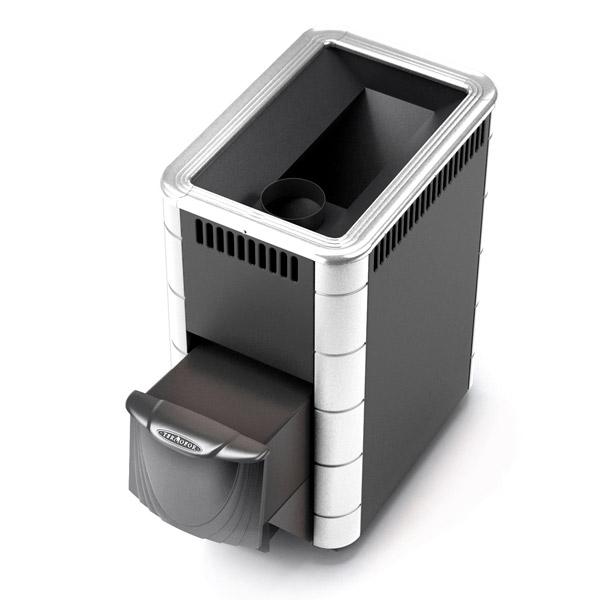 Тунгуска (Классическая дровяная печь-каменка среднего класса) XXL Антрацит с встроенным теплообменником