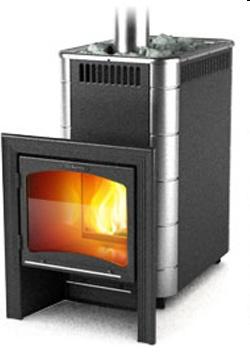 Тунгуска (Классическая дровяная печь-каменка среднего класса) VITRA Антрацит с встроенным теплообменником